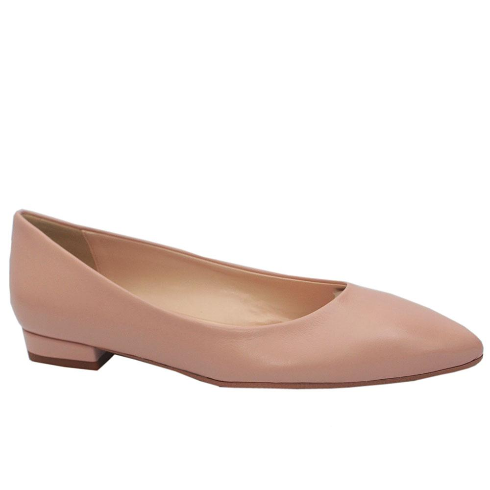 Pink Leather Pointed Toe Flat Shoe