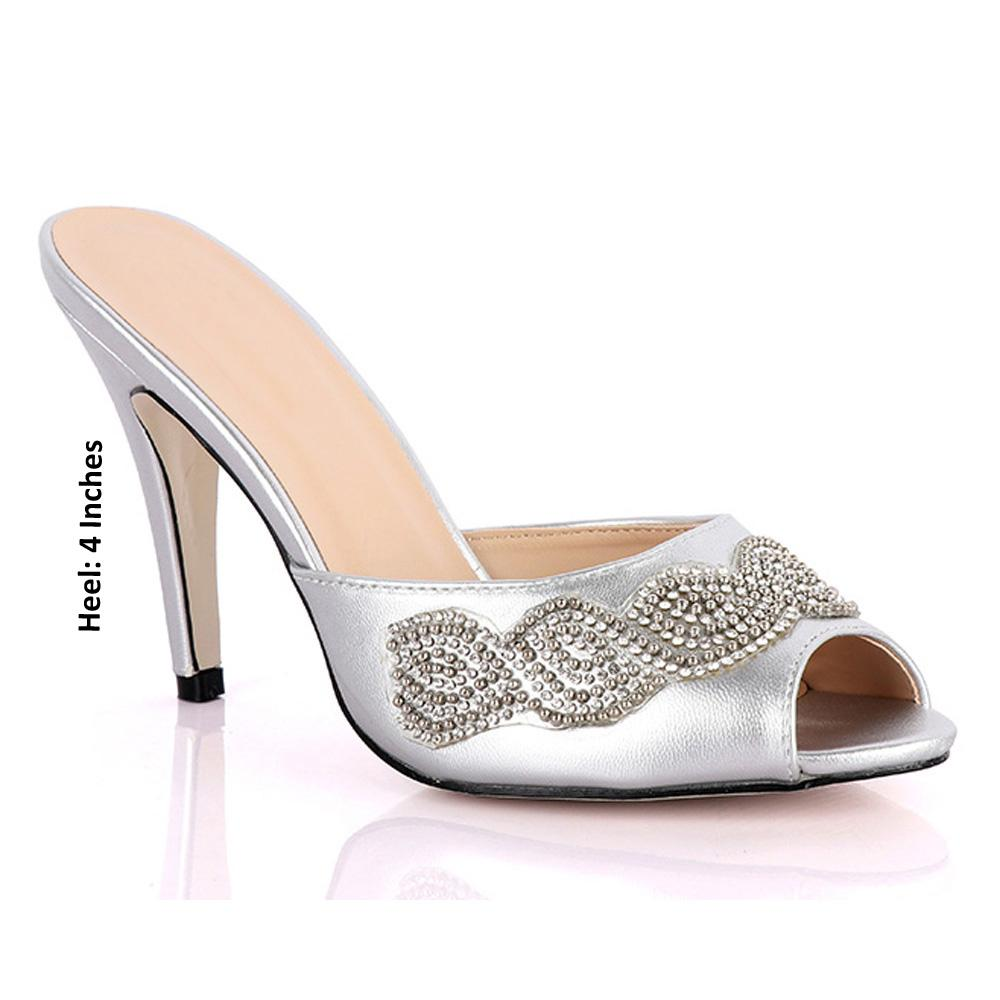 Silver Claudia Studded Leather High Heel Mule