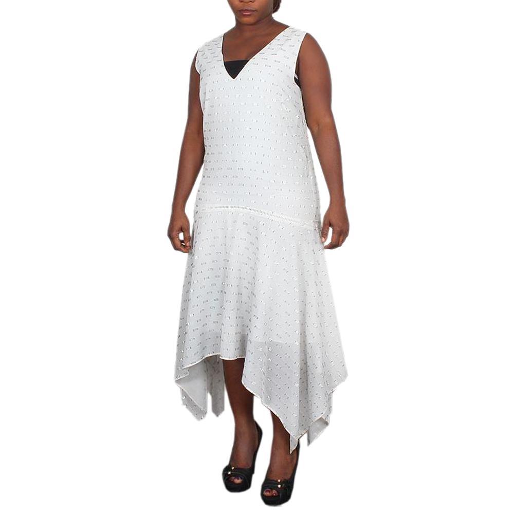 M & S Limited Edition White Mix Chiffon Ladies Dress-Uk 12