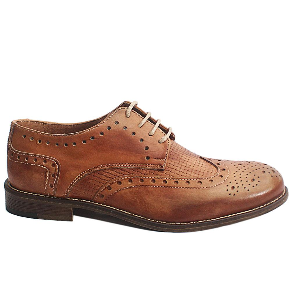Brown Livio Italia Leather Men Derby Shoes