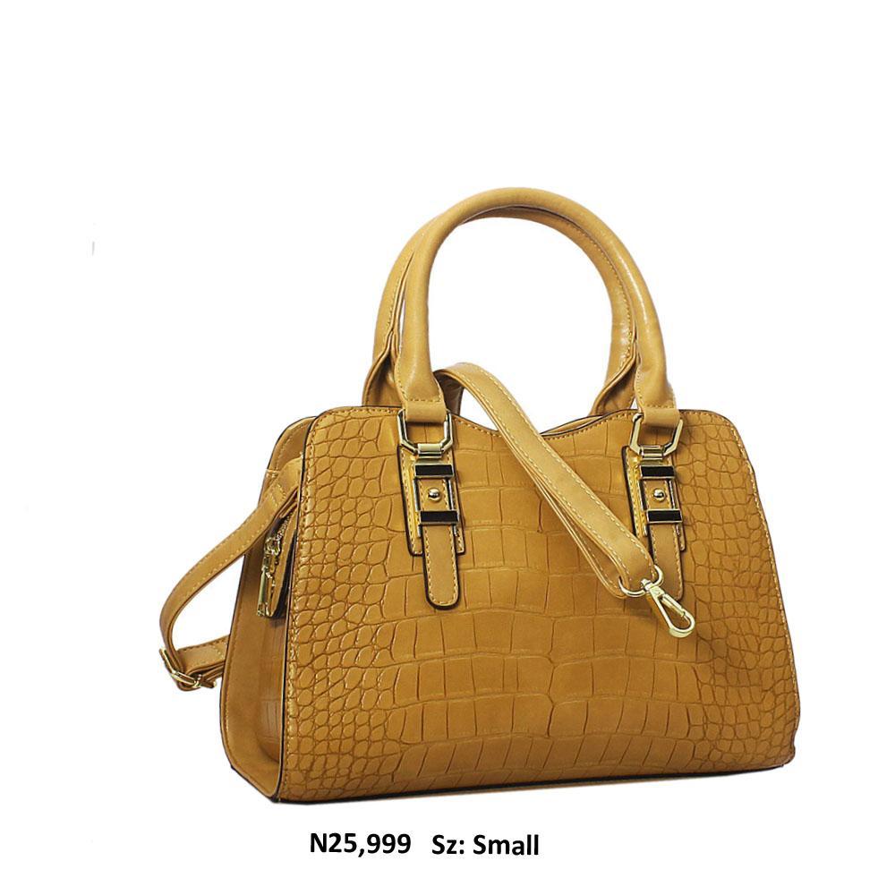 Caramel Croc Style Leather Tote Handbag