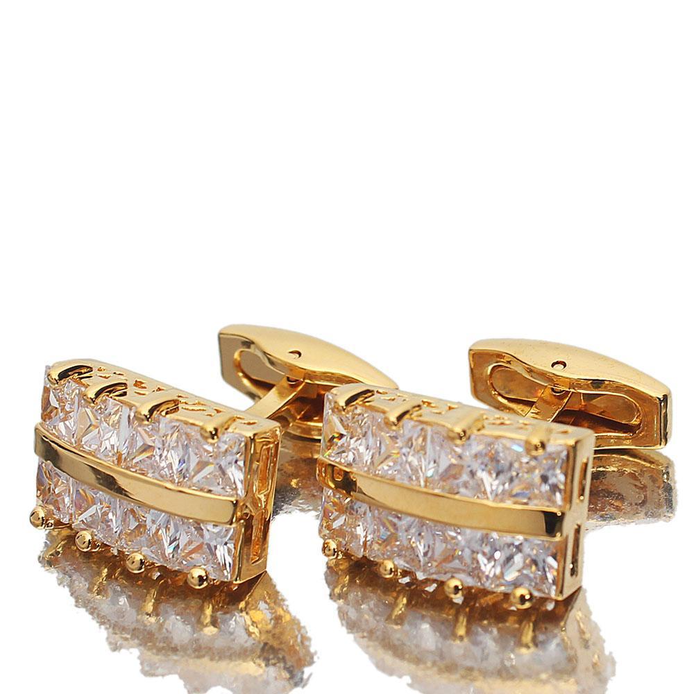 Gold Diamond Ice Stainless Steel Cufflinks