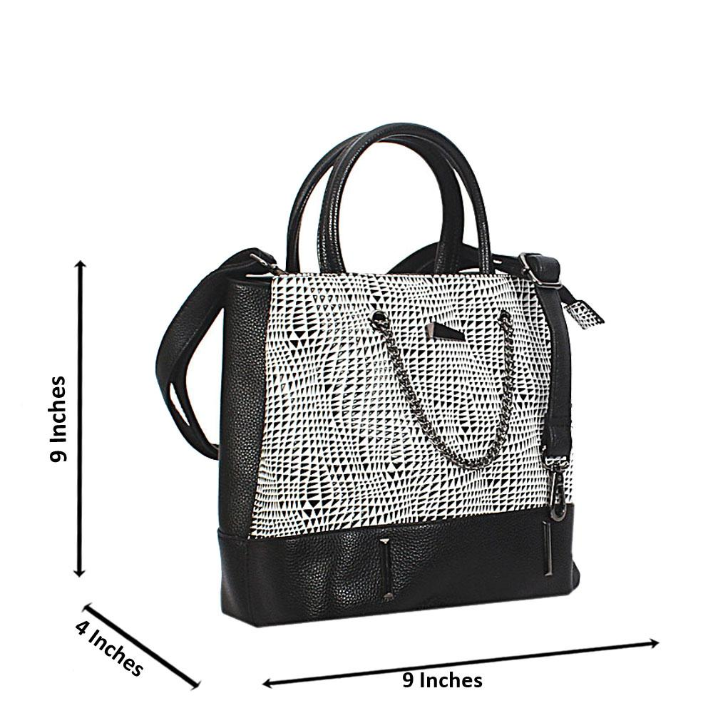 Black White Mix Nicole Leather Small Handbag