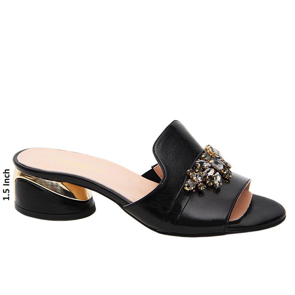 Black Barbara Tuscany Leather Low Heel Mule