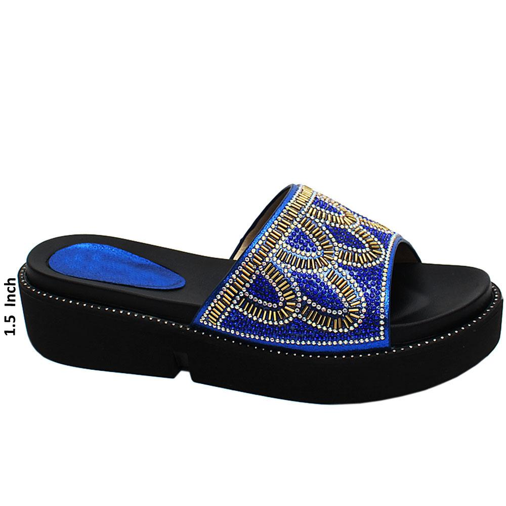 Blue Leah Studded Leather Wedge Heels