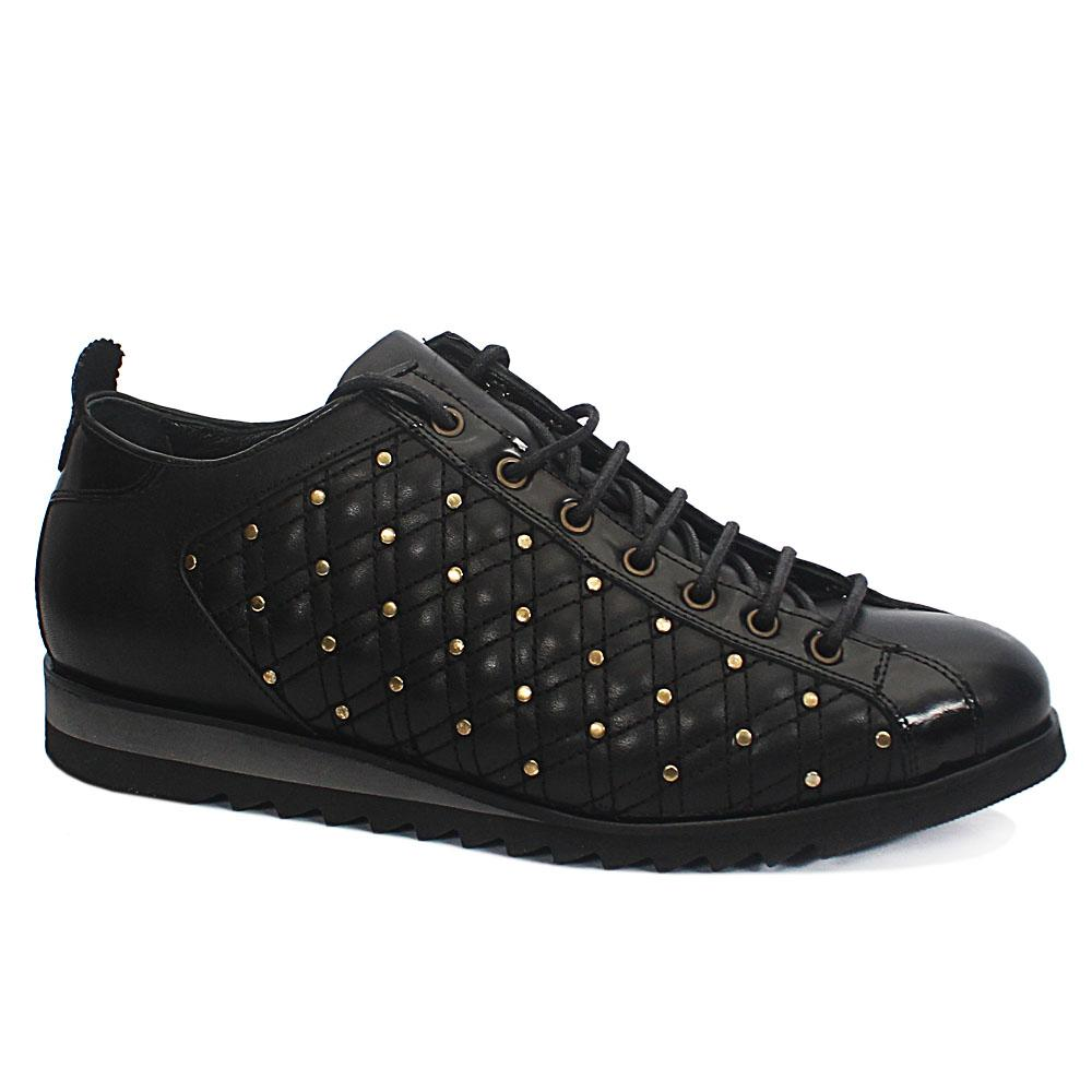 Malone Black Vintage Studs Leather Sneakers