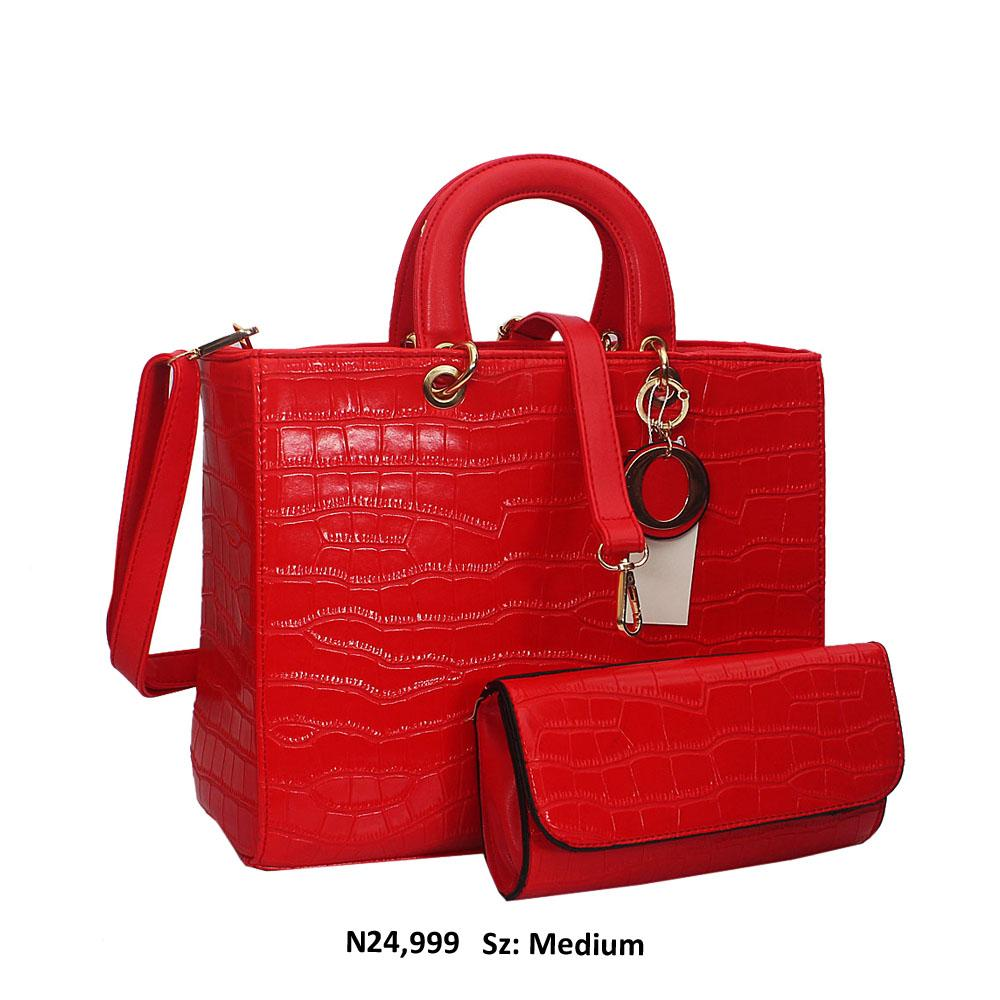 Red Dolce Croc Style Leather Tote Handbag