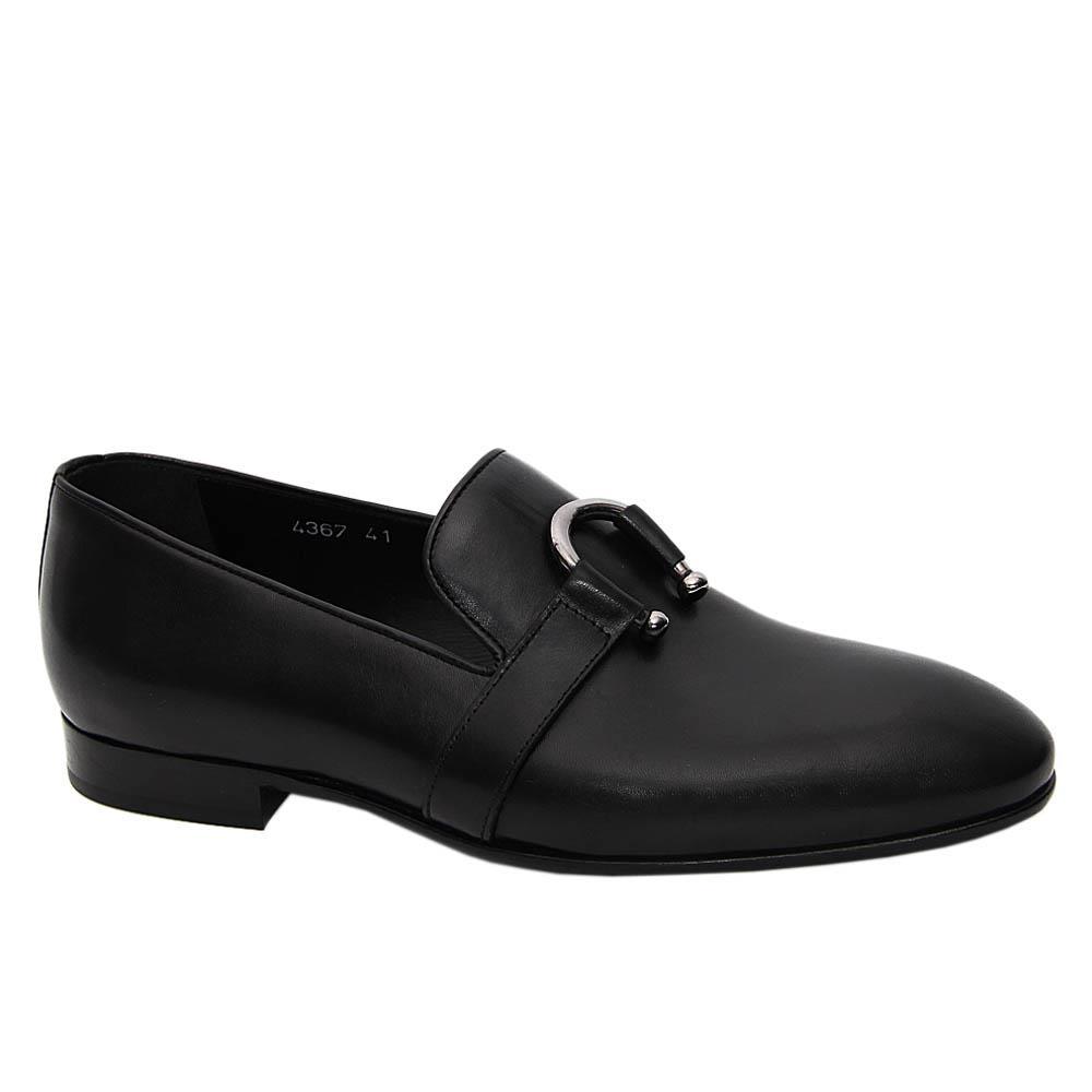 Black Rosario Italian Leather Loafers