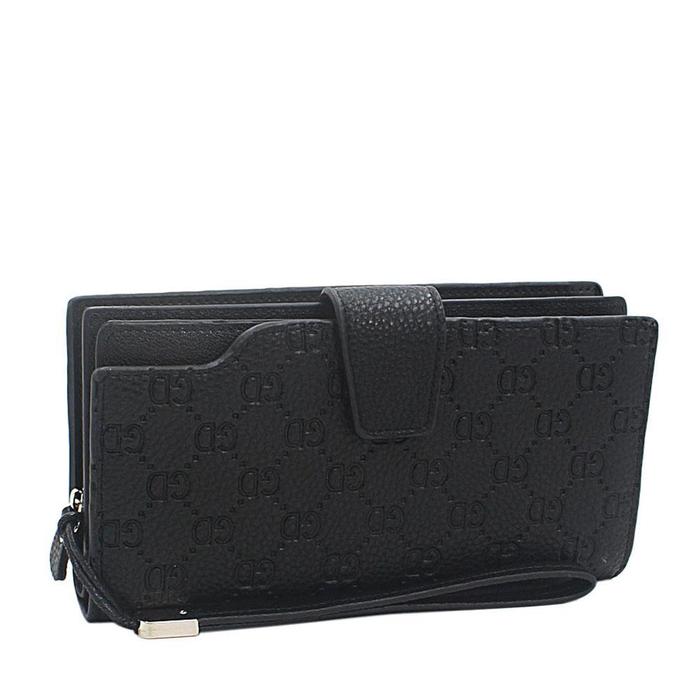 Black Embossed GD Leather Man Wristlet Wallet