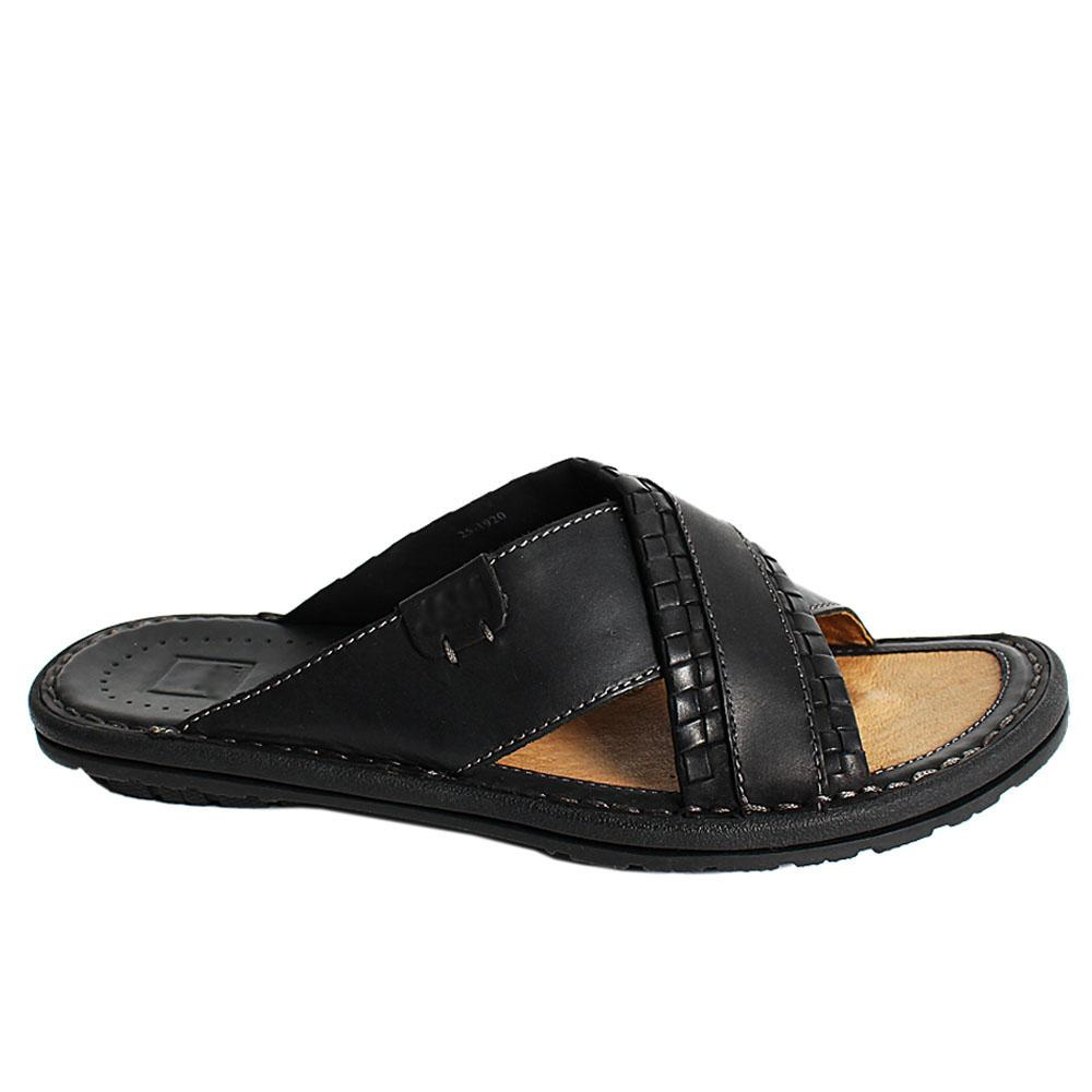 Black Woven Styled Rugged Leather Men Slippers