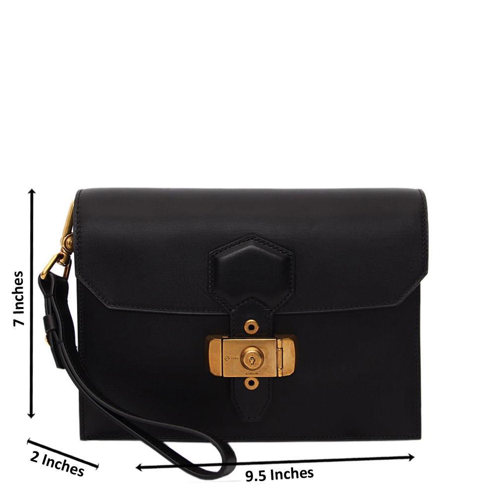 Black Alfred Leather Man Wristlet Bag
