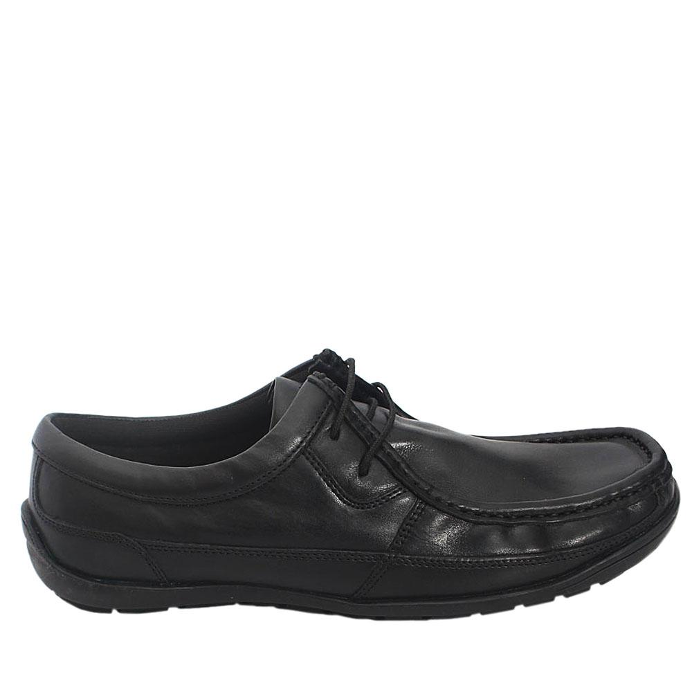 M & S Man Black Leather Men Lace Casual Shoe Size 42