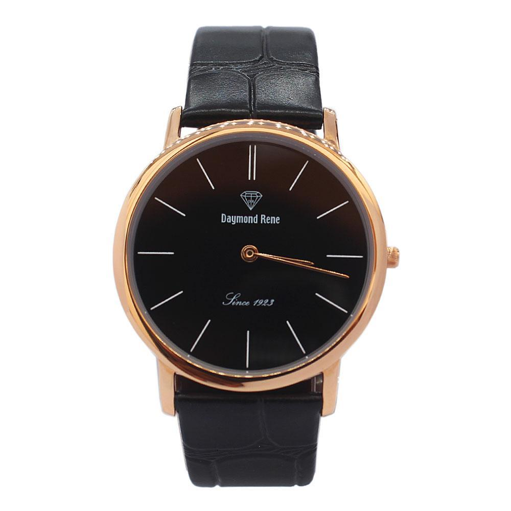 Black Rose Gold Classic Leather Flat Watch