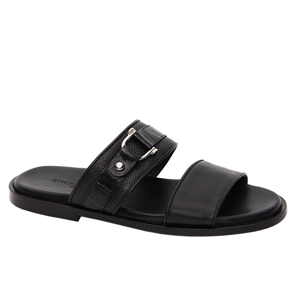 Black Gianpaolo Italian Leather Slippers