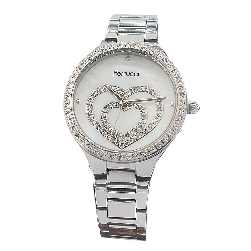 Ferrucci Love Face Studded Silver Vintage Ladies Watch
