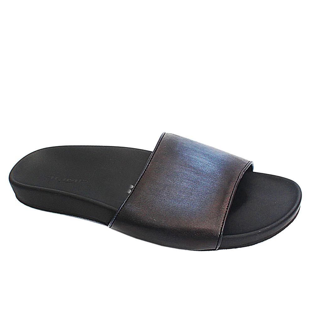 Black Blue JNY Leather Men Slippers