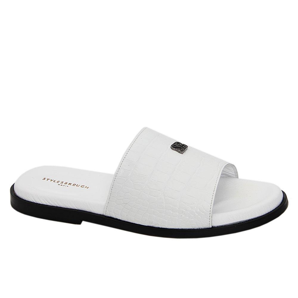 White Esteban Italian Leather Slippers