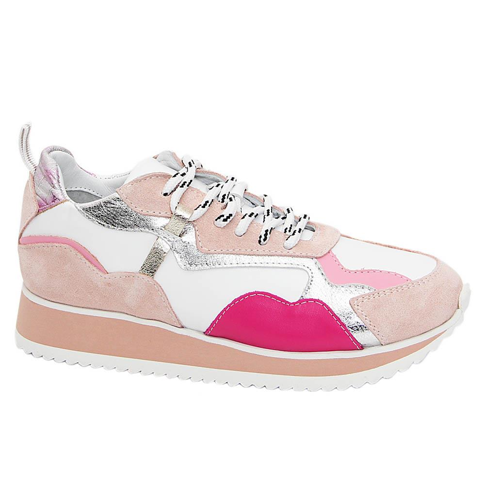 Pink White Mix Tuscany Leather Ladies Sneaker