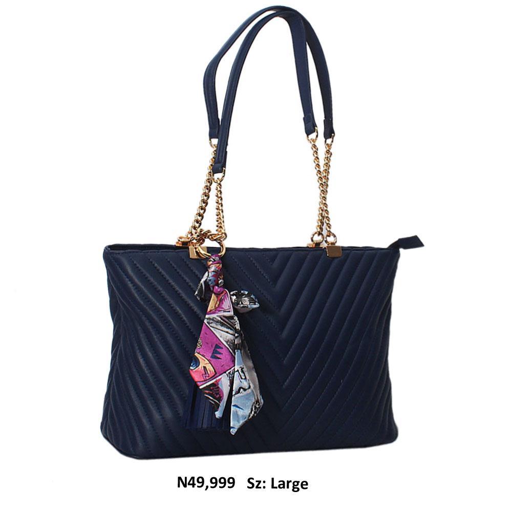 Navy Blue Gaynor Leather Chain Handle Shoulder Handbag