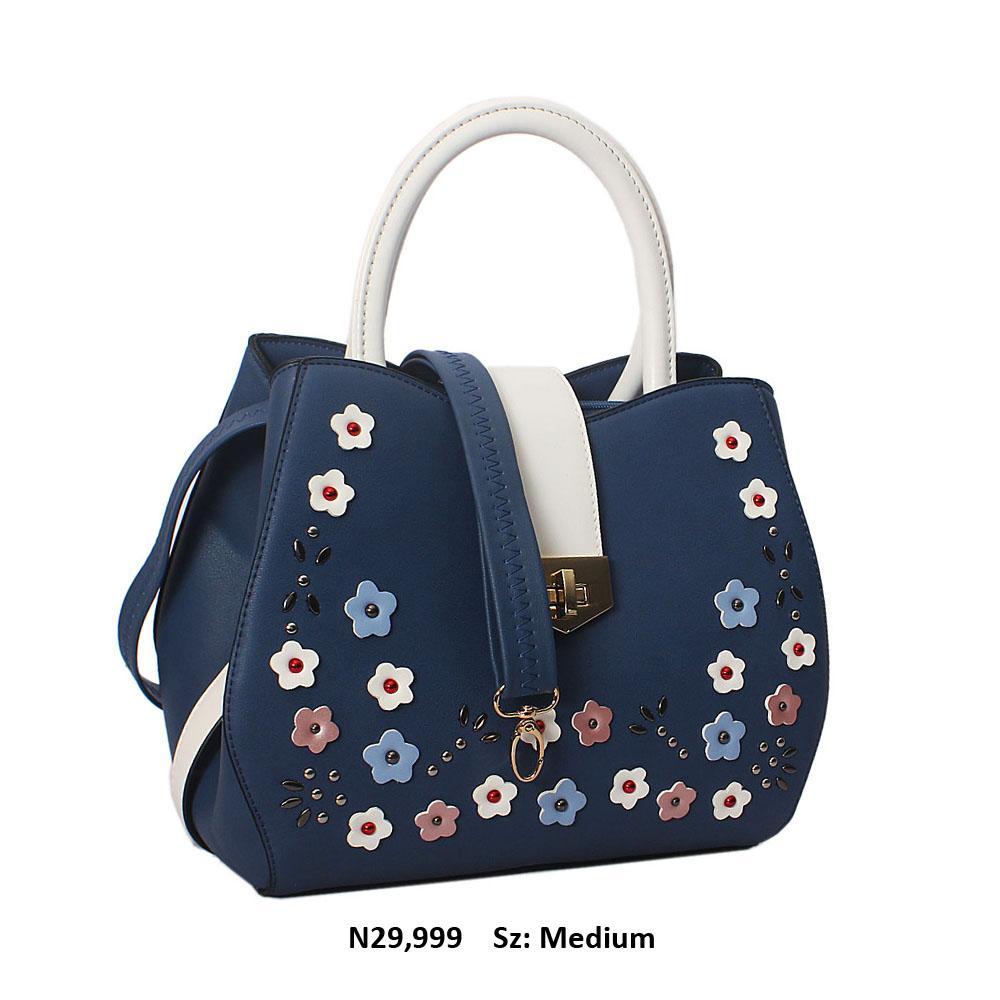 White Blue Rose  Cece Leather Tote Handbag