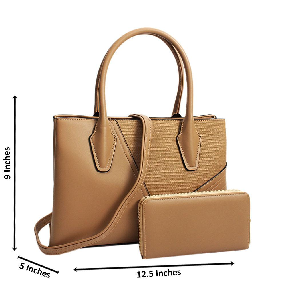 Beige Camilla Mix Leather Medium Tote Handbag