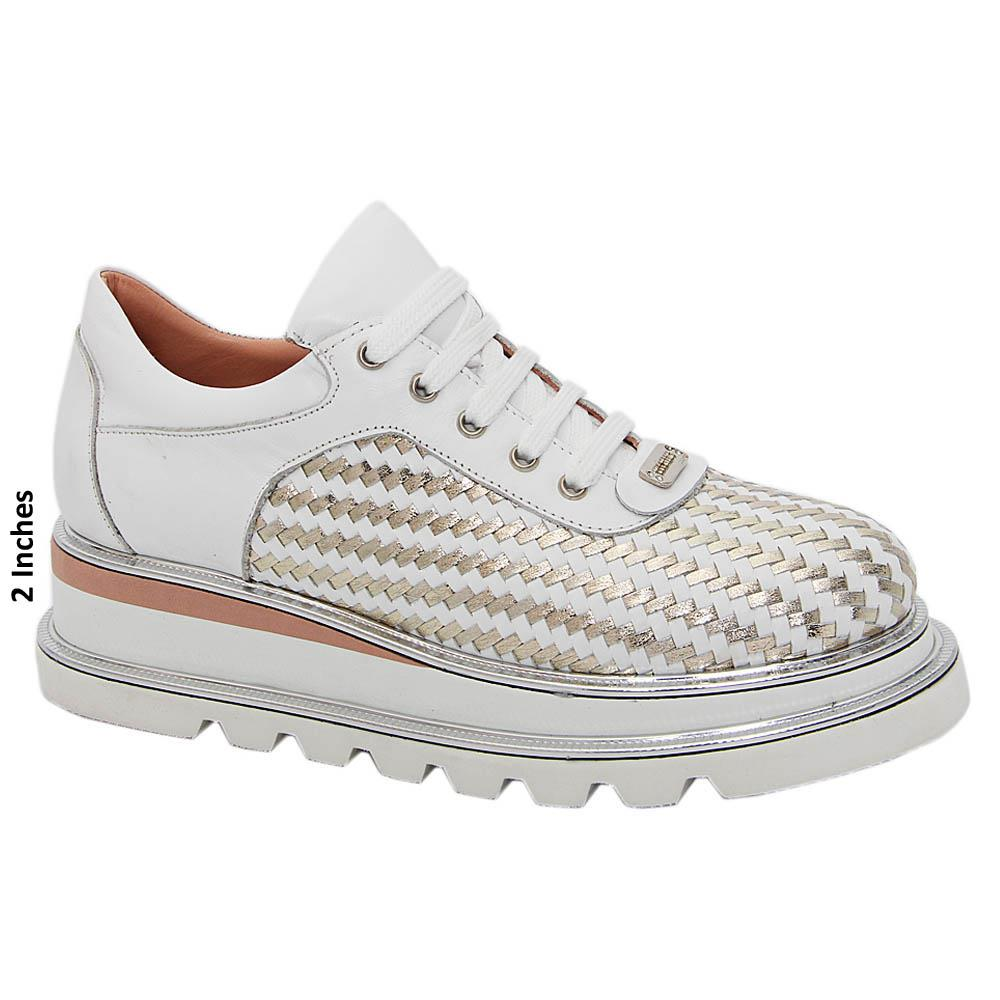 White Gold Morena Woven Tuscany Leather Ladies Sneakers