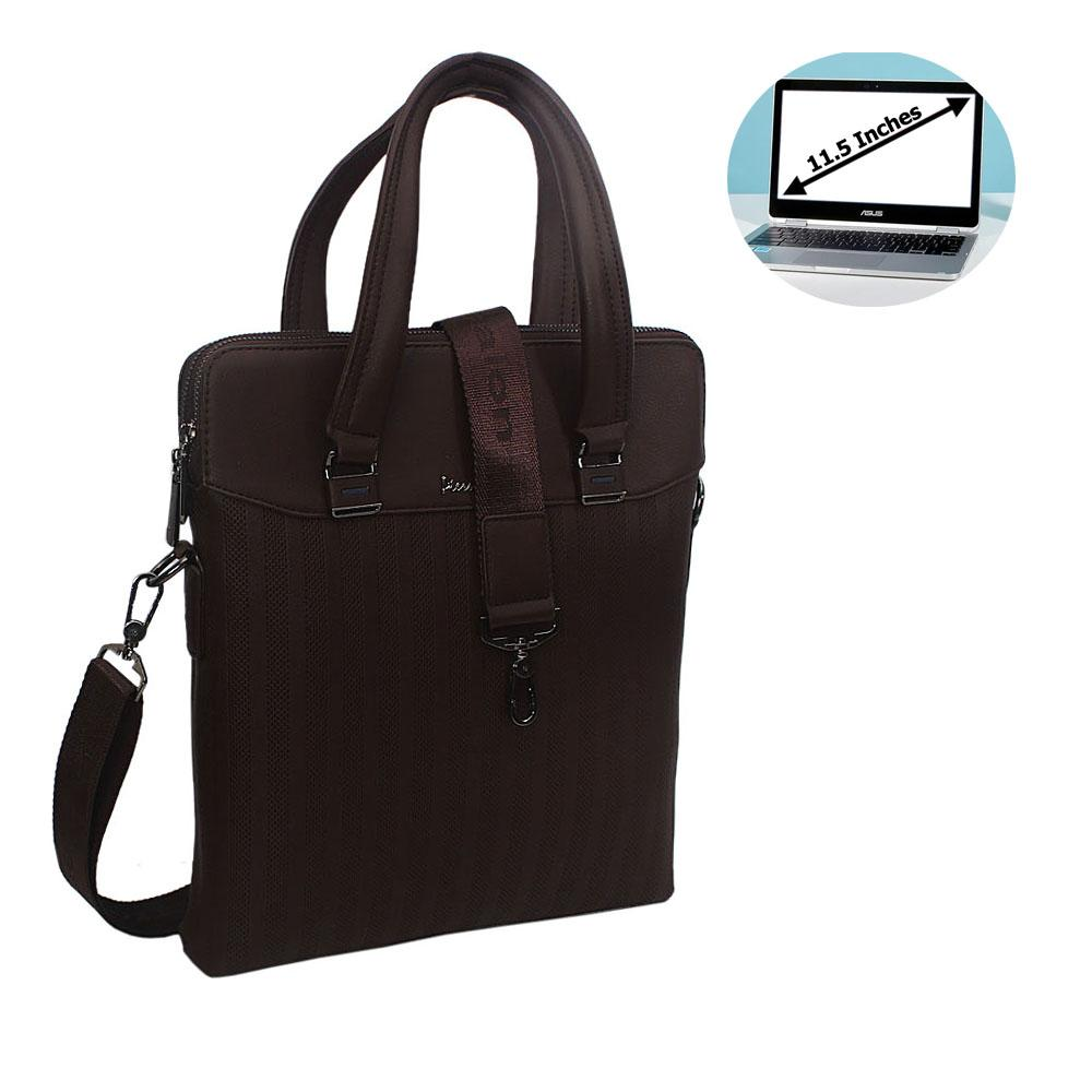 Coffee Leather Slim Briefcase