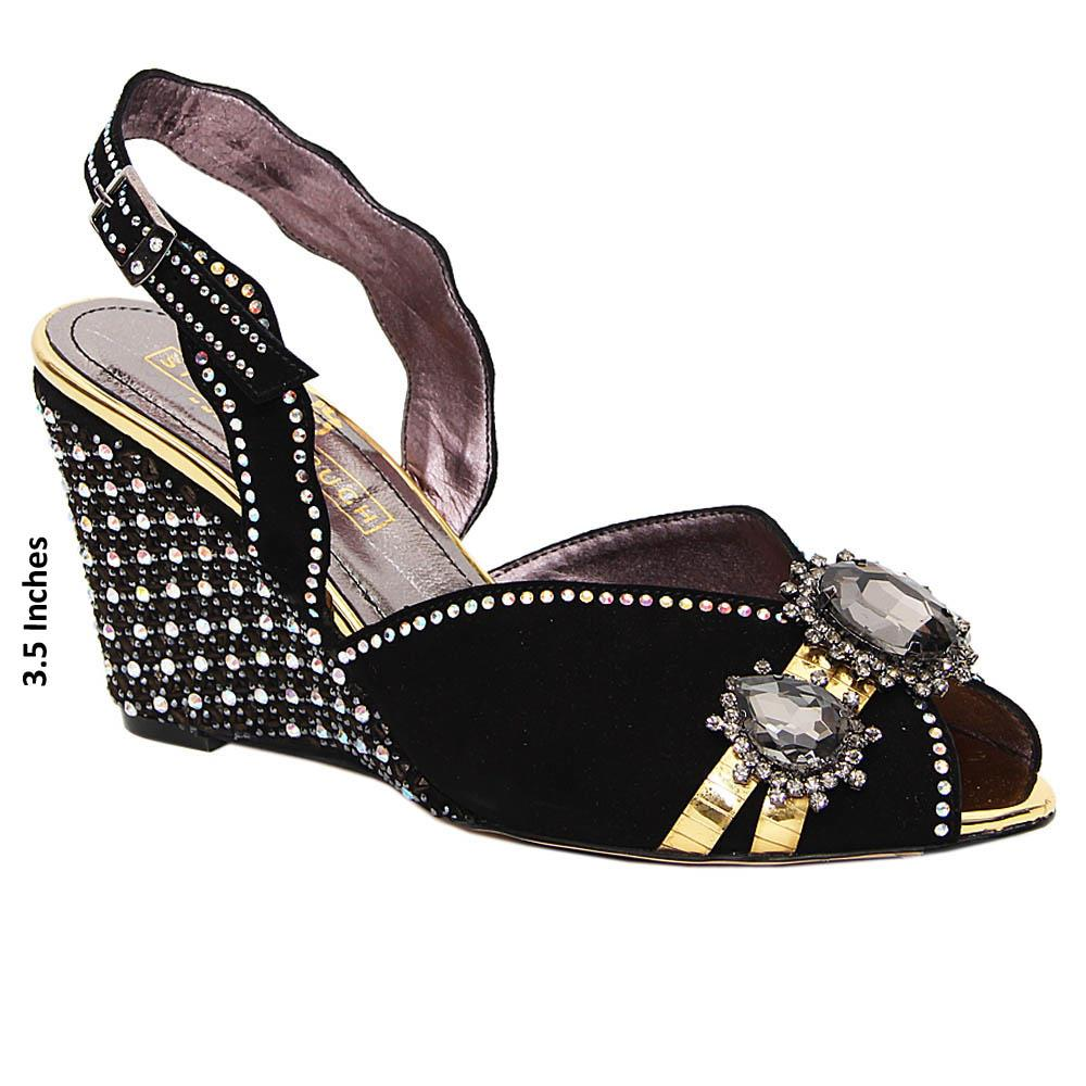 Black Dulce Studded Suede Italian Leather Wedge Sandals