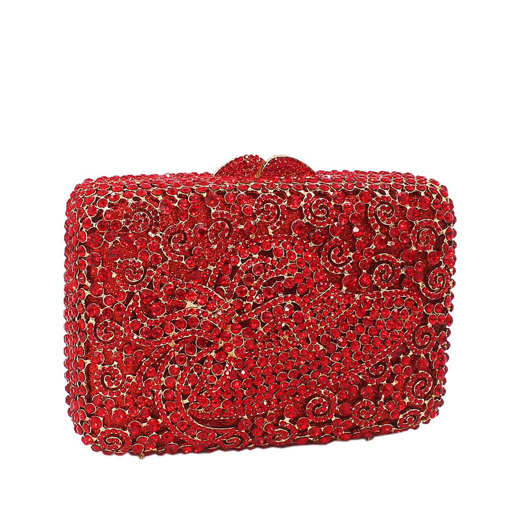 Red Hat Diamante Crystal Clutch Purse