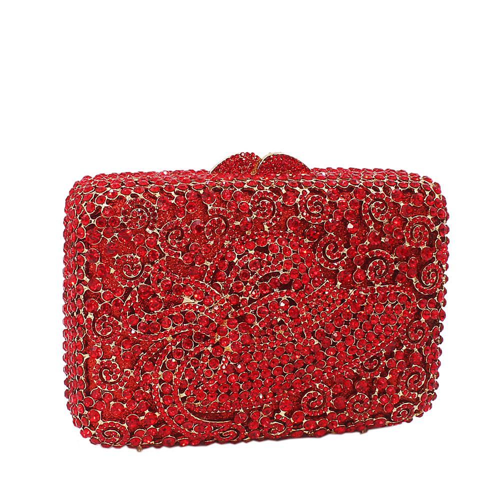 Red Hat Diamante Crystals Clutch Purse