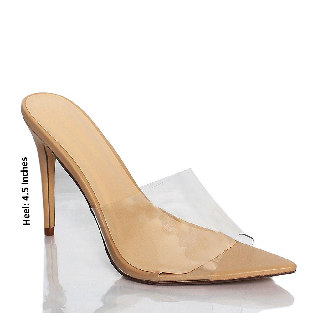 Beige AM Chi Rubber Top High Heel Mule