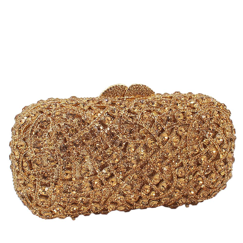 Gold Diamante Crystals Clutch Purse