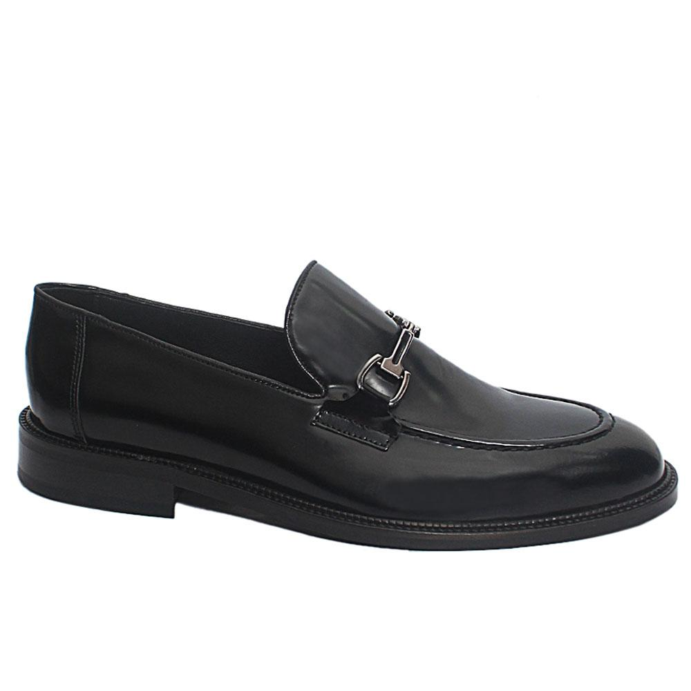 Black Curtis Leather Penny Loafers