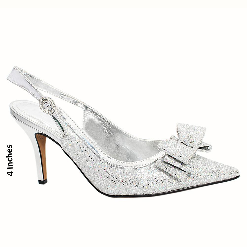 Silver Plaza Glitters Leather Slingback High Heel