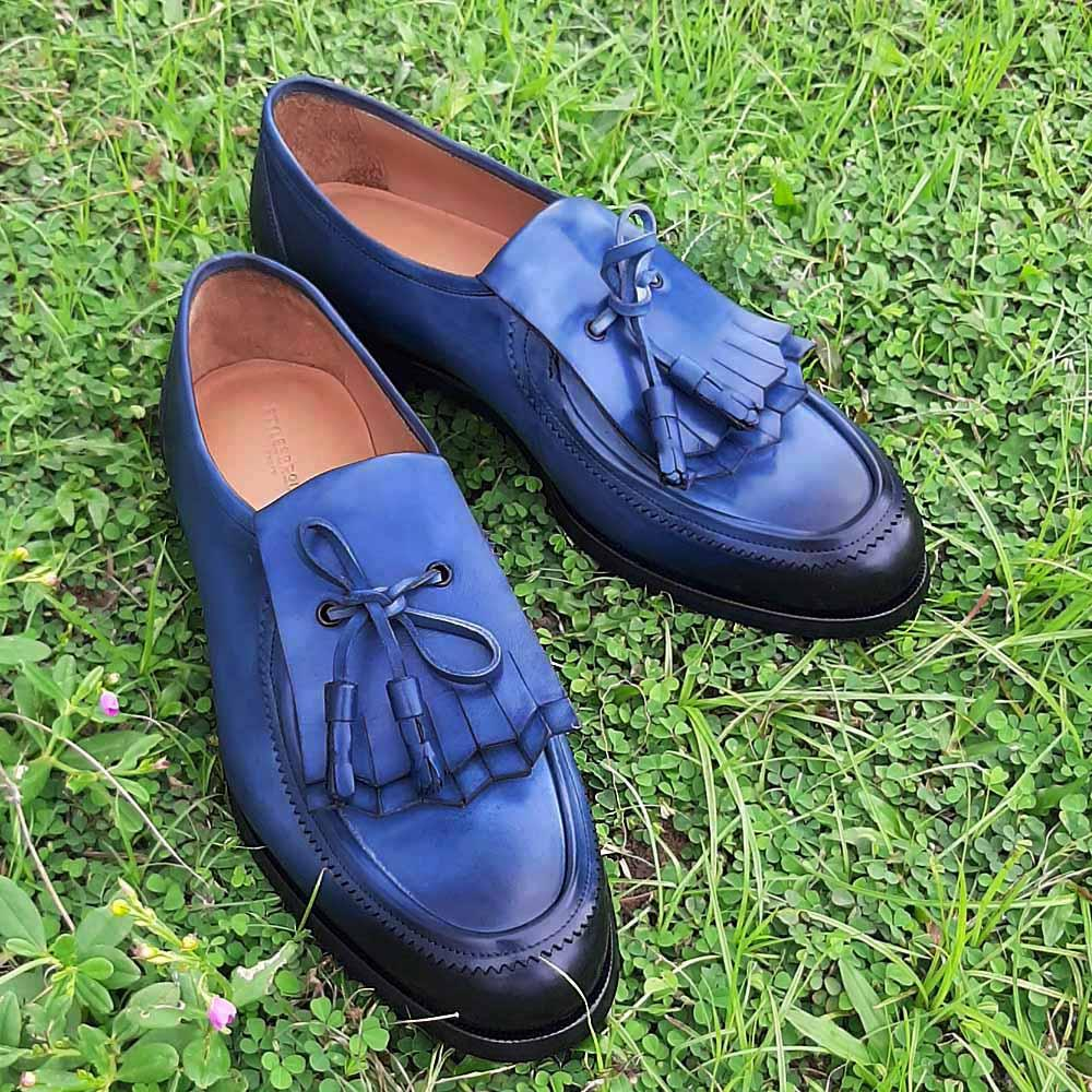 Blue Santi Fringed Italian Leather Loafers