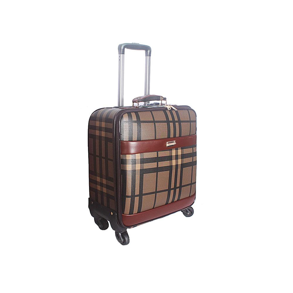 Brown 16 Inch Leather Pilot Suitcase Wt Lock