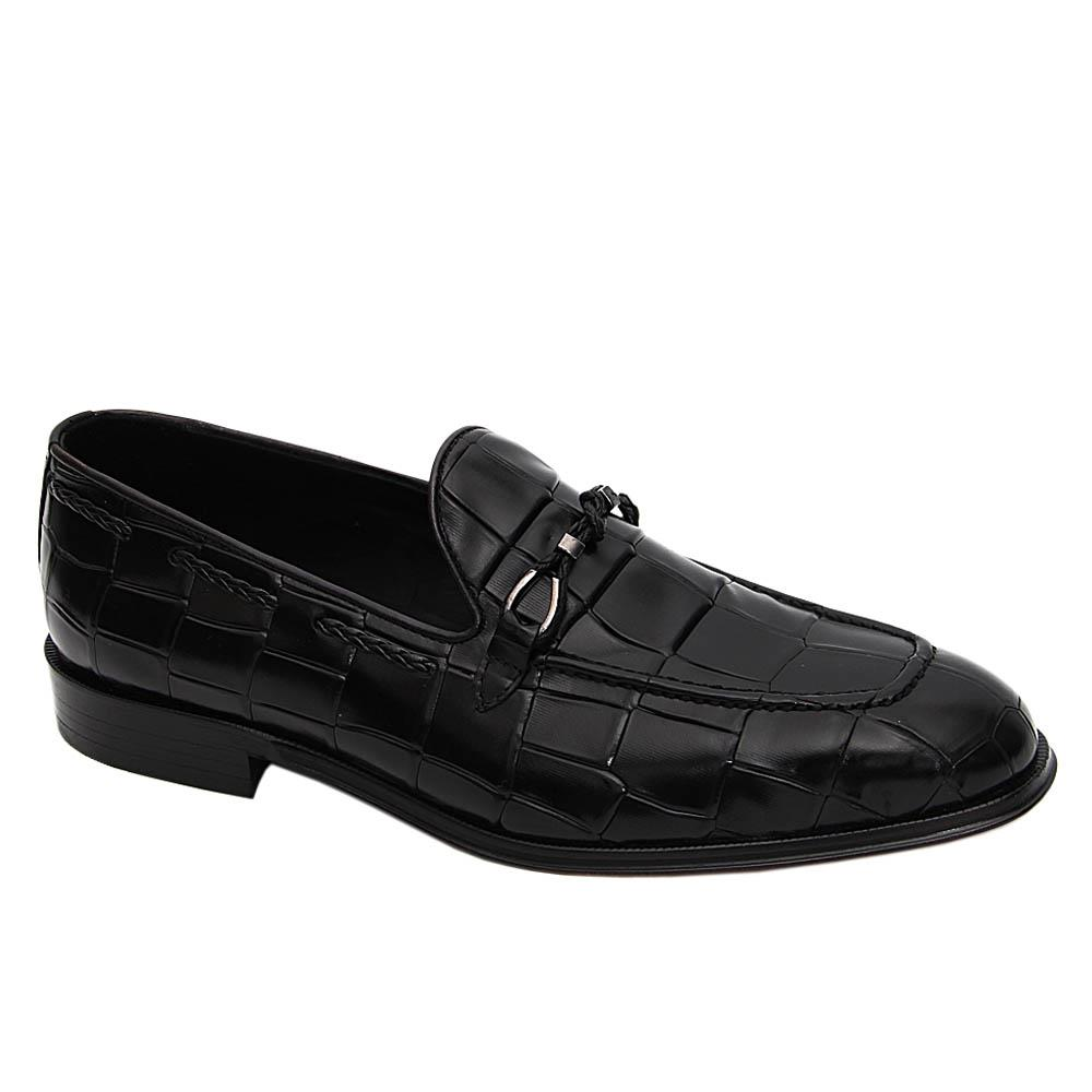 Black Griffin Italian Leather Loafers