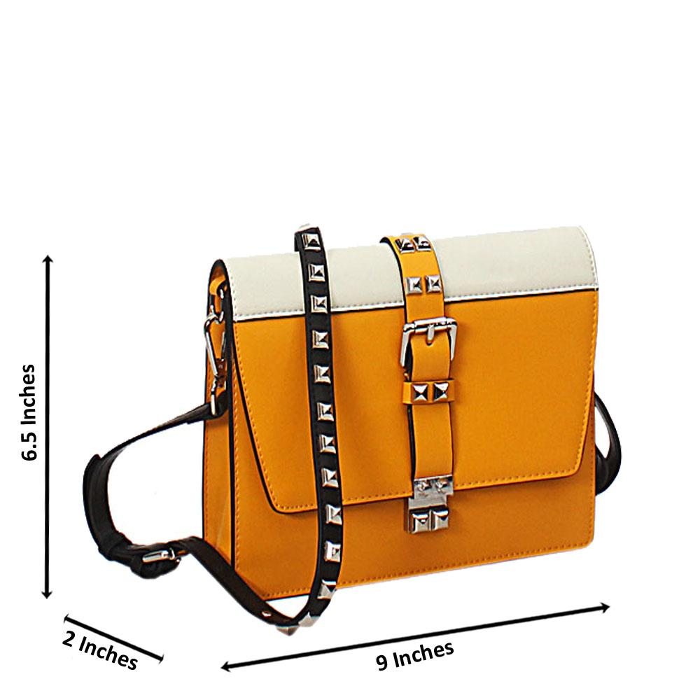 Yellow Cream Elisa Cow Leather Crossbody Handbag