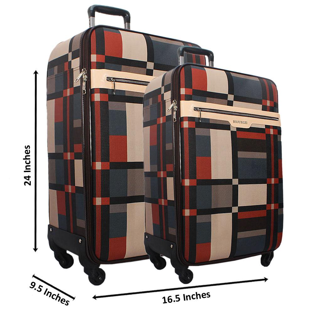 Brown Mix 24 Inch Wt 20 Inch 2 in 1 Leather Luggage Set