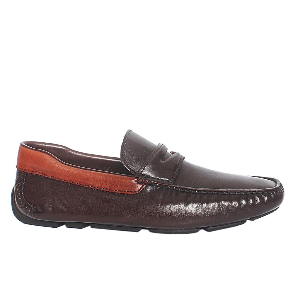 Coffee Lazzero Italian Leather Drivers Shoes