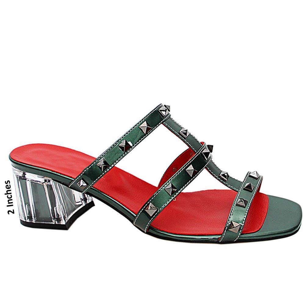Viridian Evelina Studded Italian Leather Mid Heel Mule