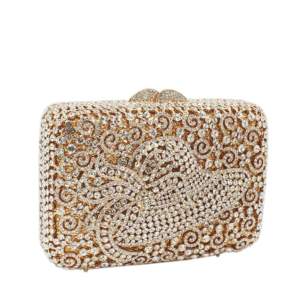 Gold Hat Diamante Crystals Clutch Purse