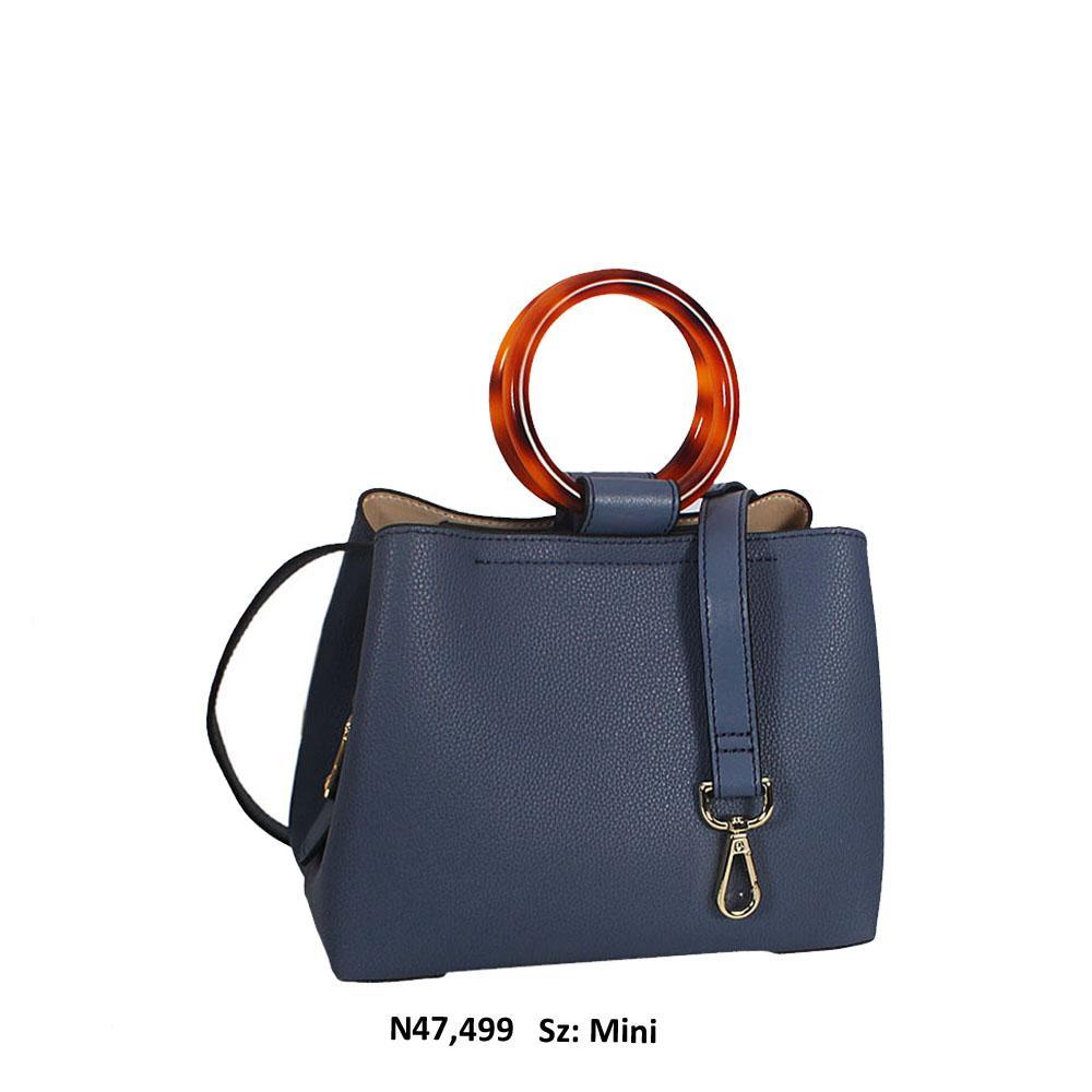 Blue Cowhide Leather CeramicHandle Mini Tote Handbag