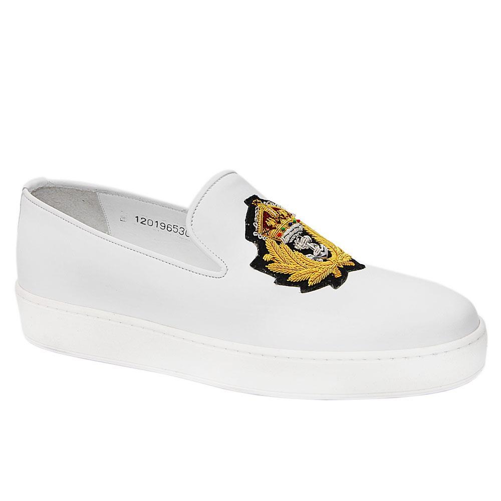 White Royale Italian Leather Slip-On Sneakers