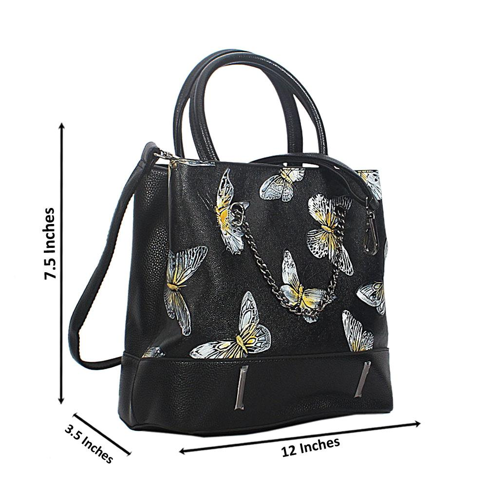 Black Butterfly Croc Leather Tote Handbag