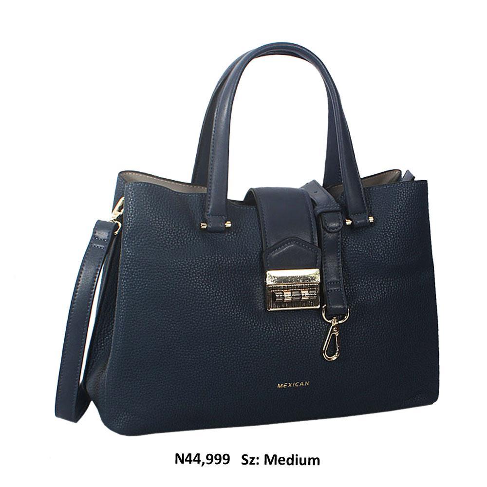 Charlotte Leigh Blue Cowhide Leather Tote Handbag