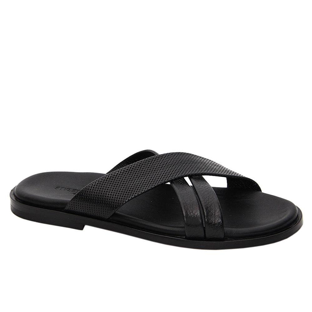 Black Emiliano Cross Italian Leather Slippers