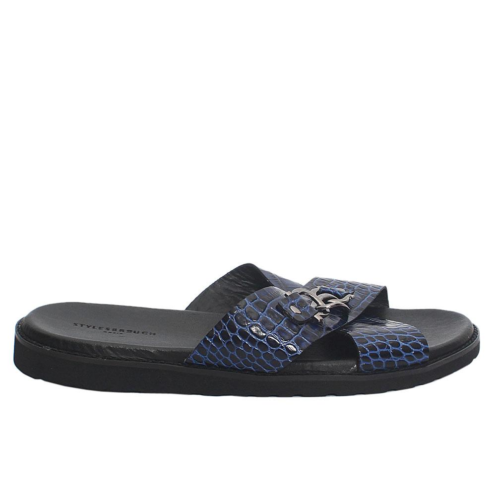 Blue Croco Italian Leather Men Slippers