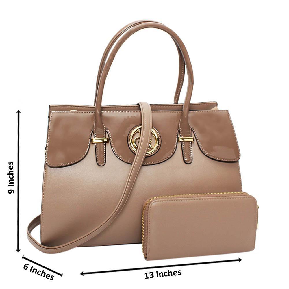 Khaki Alexa Mix Leather Medium Tote Handbag