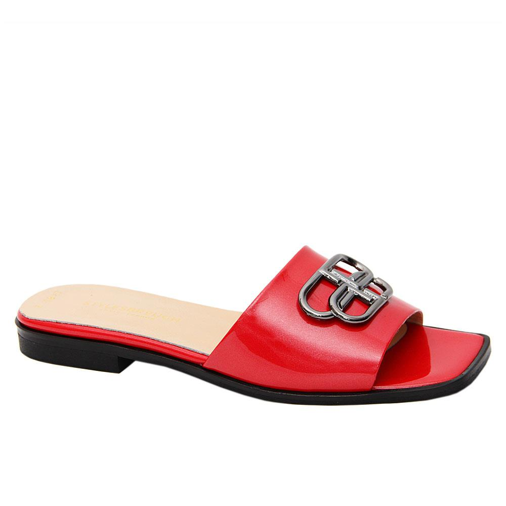Red Malena Patent Tuscany Leather Low Heel Slippers